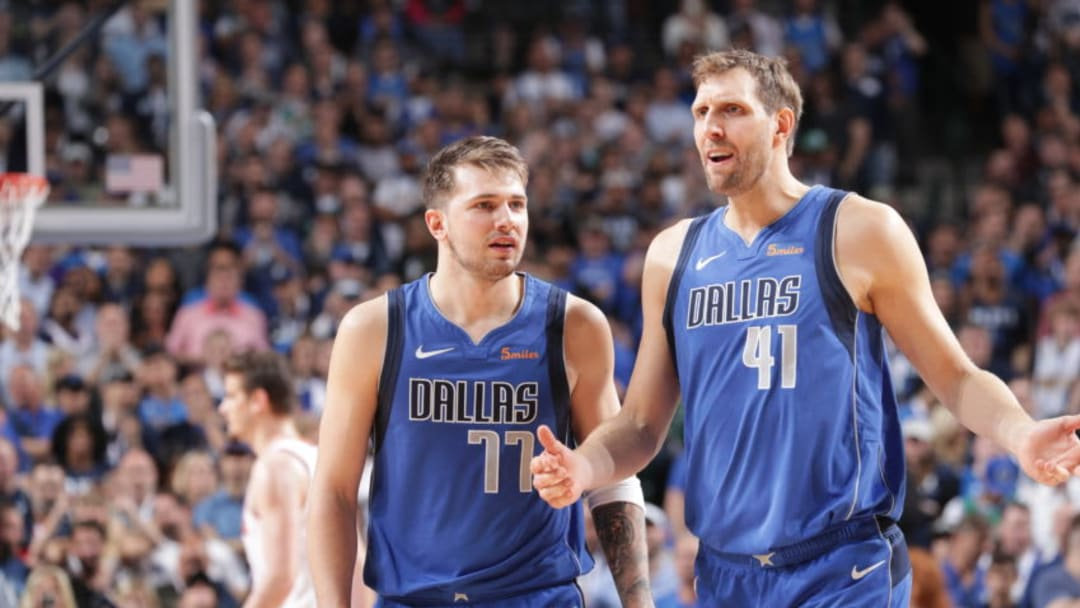Dallas Mavericks Luka Doncic Dirk Nowitzki Copyright 2019 NBAE (Photo by Glenn James/NBAE via Getty Images)