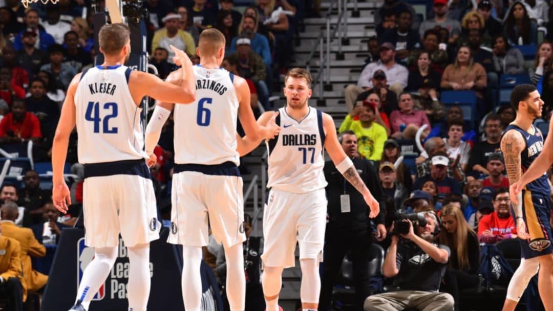 Dallas Mavericks Kristaps Porzingis Luka Doncic Copyright 2019 NBAE (Photo by Jesse D. Garrabrant/NBAE via Getty Images)