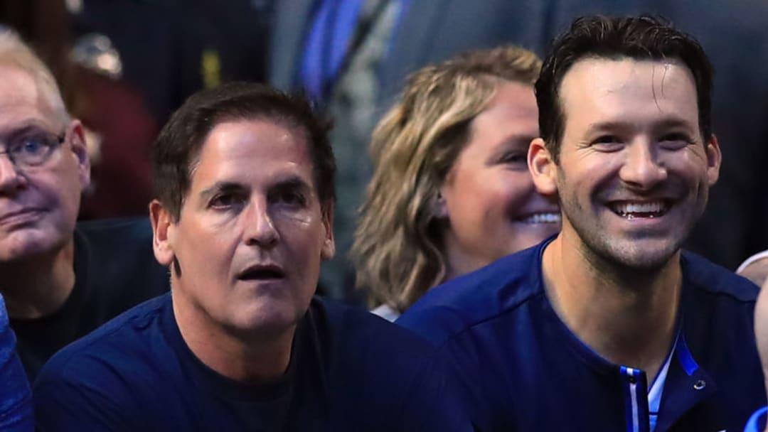 Dallas Mavericks Mark Cuban Tony Romo (Photo by Ronald Martinez/Getty Images)