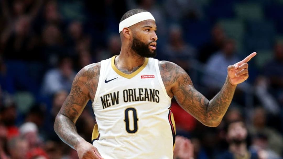 NEW ORLEANS, LA - JANUARY 22: DeMarcus Cousins #0 of the New Orleans Pelicans reacts after scoring against the Chicago Bulls during a NBA game at the Smoothie King Center on January 22, 2018 in New Orleans, Louisiana. NOTE TO USER: User expressly acknowledges and agrees that, by downloading and or using this photograph, User is consenting to the terms and conditions of the Getty Images License Agreement. (Photo by Sean Gardner/Getty Images)