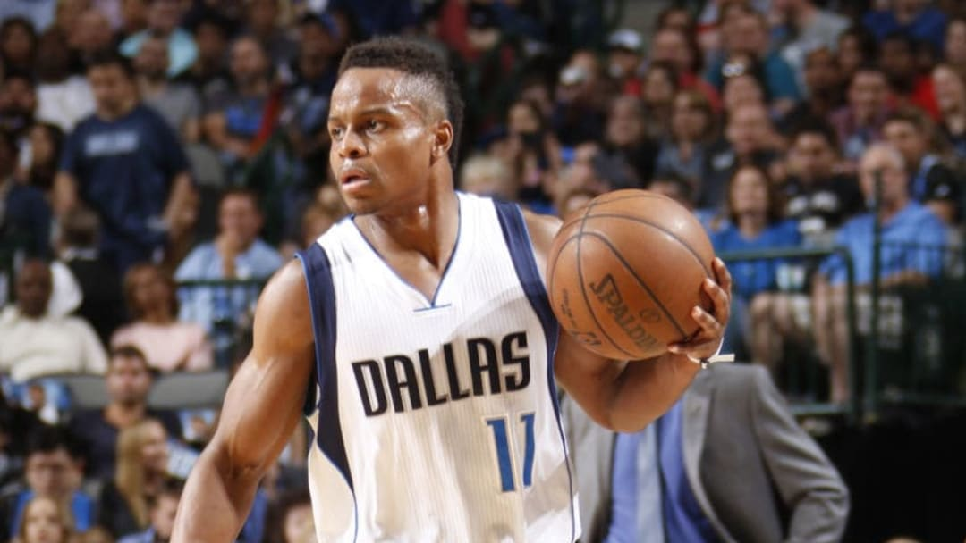 DALLAS, TX - APRIL 7: Yogi Ferrell #11 of the Dallas Mavericks dribbles the ball up court against the San Antonio Spurs on April 7, 2017 at the American Airlines Center in Dallas, Texas. NOTE TO USER: User expressly acknowledges and agrees that, by downloading and or using this photograph, User is consenting to the terms and conditions of the Getty Images License Agreement. Mandatory Copyright Notice: Copyright 2017 NBAE (Photo by Danny Bollinger/NBAE via Getty Images)