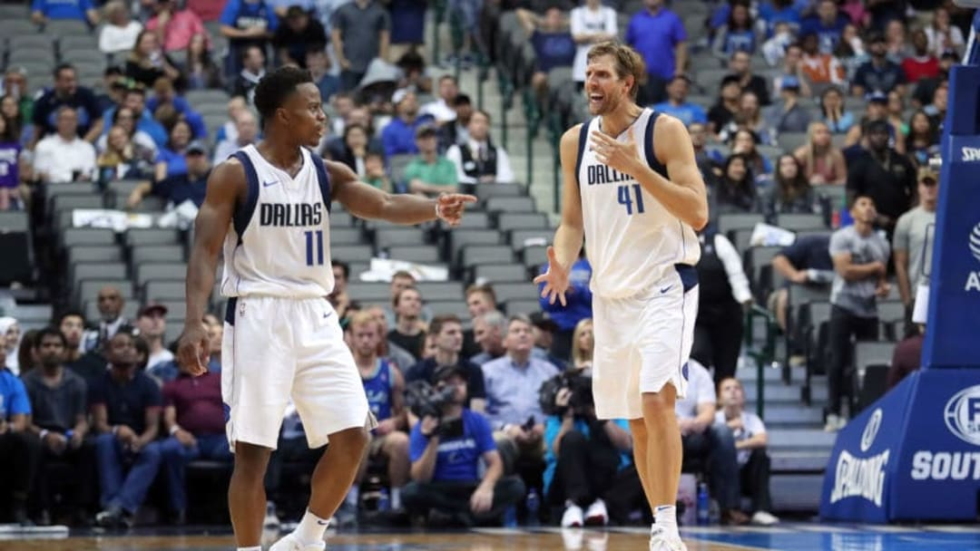 DALLAS, TX - OCTOBER 20: Dirk Nowitzki #41 of the Dallas Mavericks and Yogi Ferrell #11 of the Dallas Mavericks react to a call while taking on the Sacramento Kings in the second half at American Airlines Center on October 20, 2017 in Dallas, Texas. NOTE TO USER: User expressly acknowledges and agrees that, by downloading and or using this photograph, User is consenting to the terms and conditions of the Getty Images License Agreement. (Photo by Tom Pennington/Getty Images)