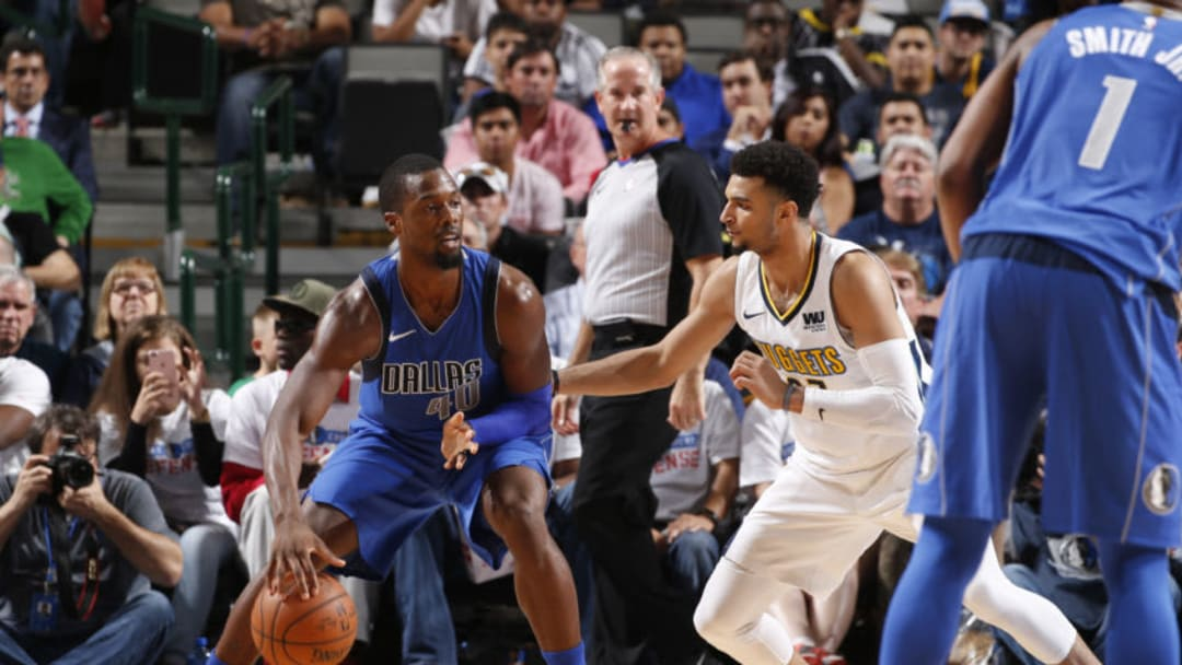 DALLAS, TX - DECEMBER 4: Harrison Barnes #40 of the Dallas Mavericks handles the ball against the Denver Nuggets on December 4, 2017 at the American Airlines Center in Dallas, Texas. NOTE TO USER: User expressly acknowledges and agrees that, by downloading and or using this photograph, User is consenting to the terms and conditions of the Getty Images License Agreement. Mandatory Copyright Notice: Copyright 2017 NBAE (Photo by Glenn James/NBAE via Getty Images)
