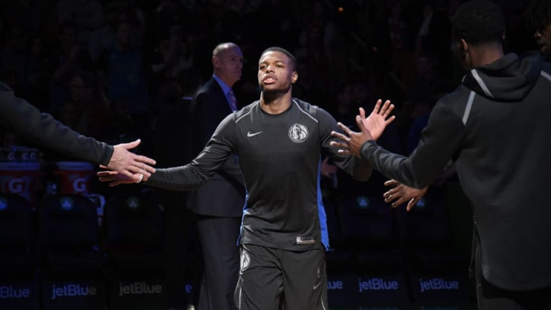 BOSTON, MA - DECEMBER 6: Dennis Smith Jr. #1 of the Dallas Mavericks is introduced before the game against the Boston Celtics on December 6, 2017 at the TD Garden in Boston, Massachusetts. NOTE TO USER: User expressly acknowledges and agrees that, by downloading and or using this photograph, User is consenting to the terms and conditions of the Getty Images License Agreement. Mandatory Copyright Notice: Copyright 2017 NBAE (Photo by Brian Babineau/NBAE via Getty Images)