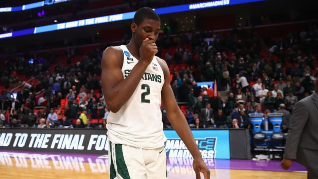 DETROIT, MI - MARCH 18: Jaren Jackson Jr. #2 of the Michigan State Spartans reacts after being defeated by the Syracuse Orange 55-53 in the second round of the 2018 NCAA Men's Basketball Tournament at Little Caesars Arena on March 18, 2018 in Detroit, Michigan. (Photo by Gregory Shamus/Getty Images)