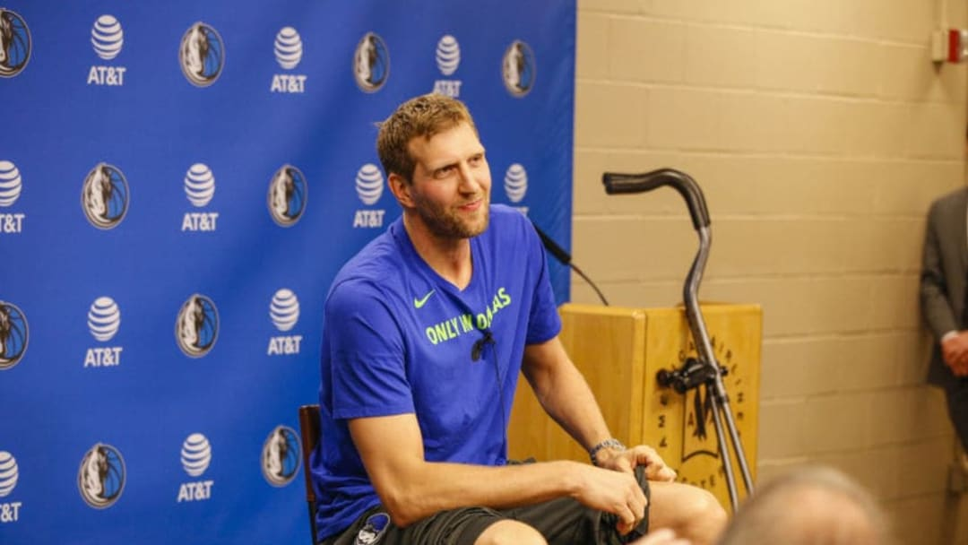 DALLAS, TX - APRIL 10: Dirk Nowitzki #41 of the Dallas Mavericks speaks at a press conference prior to the game against the Phoenix Suns announcing that he will return next season on April 10, 2018 at the American Airlines Center in Dallas, Texas. NOTE TO USER: User expressly acknowledges and agrees that, by downloading and or using this photograph, User is consenting to the terms and conditions of the Getty Images License Agreement. Mandatory Copyright Notice: Copyright 2018 NBAE (Photo by Danny Bollinger/NBAE via Getty Images)