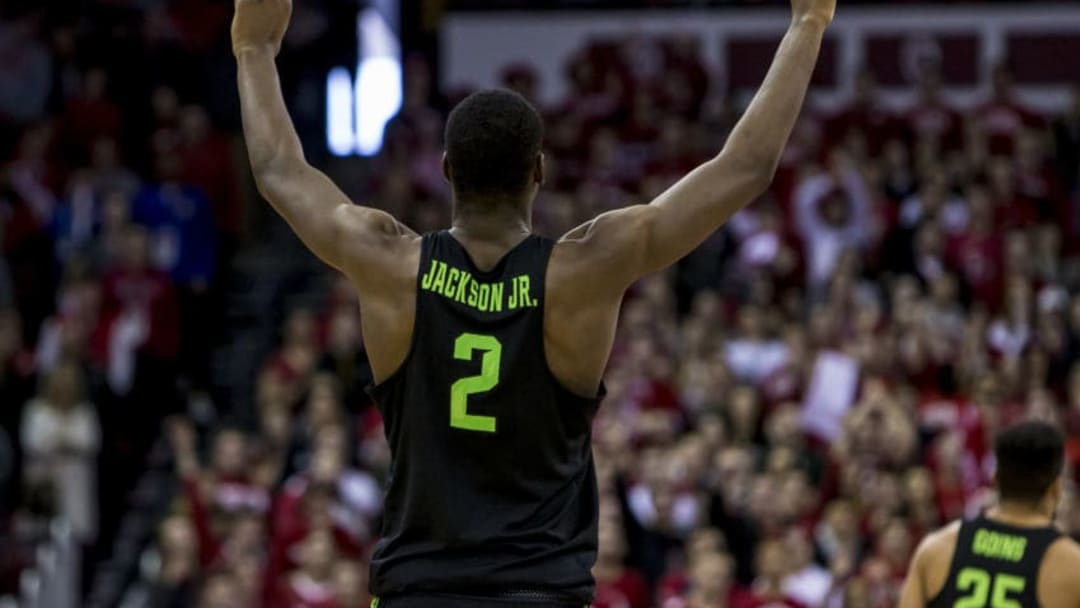 MADISON, WI - FEBRUARY 25: Michigan State Spartans forward Jaren Jackson Jr. (2) puts his fingers up in the air as Michigan State Spartans guard/forward Miles Bridges (22) makes a free throw to seal the win and a outright Big Ten championship during a college basketball game between Michigan State Spartans and the Wisconsin Badgers on February 25th, 2018 at the Kohl Center in Madison, WI. Michigan State defeats Wisconsin 68-63. (Photo by Dan Sanger/Icon Sportswire via Getty Images)