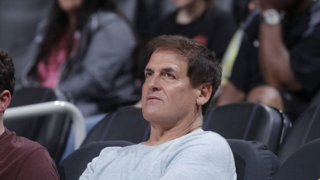 SACRAMENTO, CA - MARCH 27: Dallas Mavericks owner Mark Cuban looks on during the game against the Sacramento Kings on March 27, 2018 at Golden 1 Center in Sacramento, California. NOTE TO USER: User expressly acknowledges and agrees that, by downloading and or using this photograph, User is consenting to the terms and conditions of the Getty Images Agreement. Mandatory Copyright Notice: Copyright 2018 NBAE (Photo by Rocky Widner/NBAE via Getty Images)
