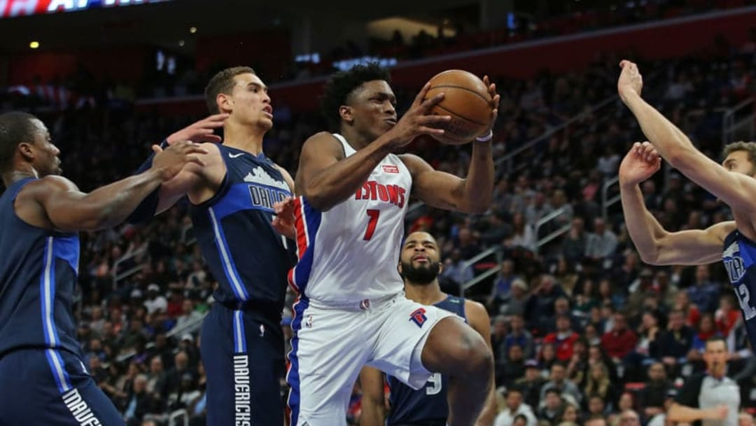 DETROIT, MI - APRIL 6: Stanley Johnson #7 of the Detroit Pistons drives the ball to the basket as Dwight Powell #7 of the Dallas Mavericks defends during the second quarter o the game at Little Caesars Arena on April 6, 2018 in Detroit, Michigan. NOTE TO USER: User expressly acknowledges and agrees that, by downloading and or using this photograph, User is consenting to the terms and conditions of the Getty Images License Agreement (Photo by Leon Halip/Getty Images)