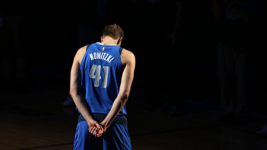 DALLAS, TX - APRIL 09: Dirk Nowitzki #41 of the Dallas Mavericks walks off the court after announcing that he played his last home game at American Airlines Center on April 09, 2019 in Dallas, Texas. NOTE TO USER: User expressly acknowledges and agrees that, by downloading and or using this photograph, User is consenting to the terms and conditions of the Getty Images License Agreement. (Photo by Omar Vega/Getty Images)