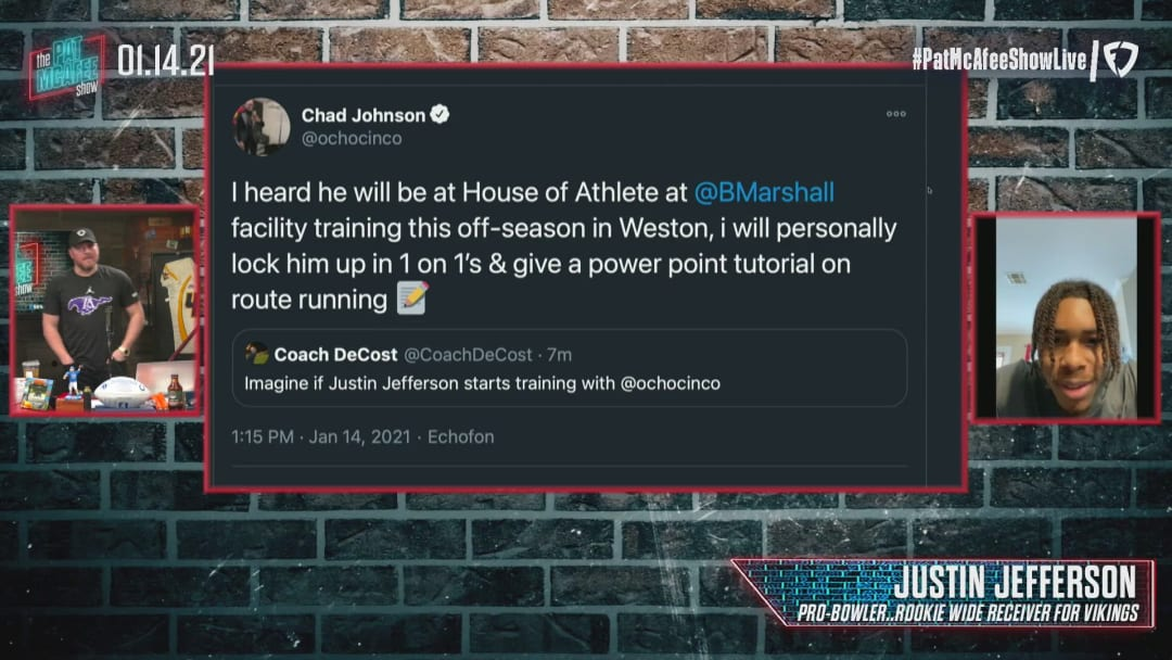 Ochocinco Tweets About Justin Jefferson - The Pat McAfee Show