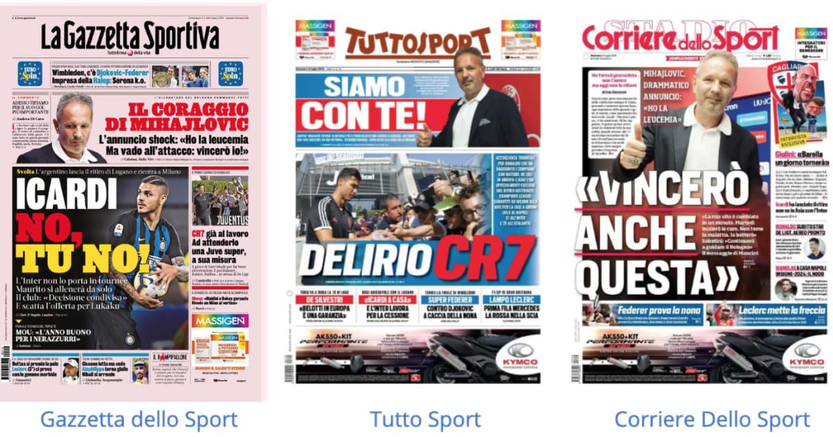 La rassegna stampa dei principali quotidiani sportivi for Camera dei deputati rassegna stampa