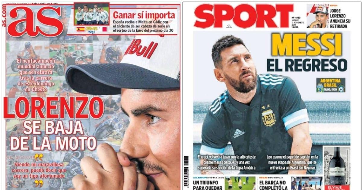 La retirada de Jorge Lorenzo y el retorno de Messi con Argentina, en portada - 90min