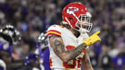 Sep 19, 2021; Baltimore, MD; Kansas City Chiefs S Tyrann Mathieu (32) signals to the stands during the fourth quarter against the Baltimore Ravens.