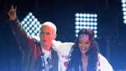 LOS ANGELES, CA - APRIL 13:  Recording artists Eminem (L) and Rihanna perform onstage at the 2014 MTV Movie Awards at Nokia Theatre L.A. Live on April 13, 2014 in Los Angeles, California.  (Photo by Kevork Djansezian/Getty Images for MTV)
