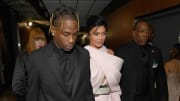 LOS ANGELES, CA - FEBRUARY 10:  Travis Scott (L) and Kylie Jenner backstage during the 61st Annual GRAMMY Awards at Staples Center on February 10, 2019 in Los Angeles, California.  (Photo by Frazer Harrison/Getty Images for The Recording Academy)