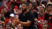TORONTO, ONTARIO - JUNE 10: Drake reacts in the first half during Game Five of the 2019 NBA Finals between the Golden State Warriors and the Toronto Raptors at Scotiabank Arena on June 10, 2019 in Toronto, Canada. NOTE TO USER: User expressly acknowledges and agrees that, by downloading and or using this photograph, User is consenting to the terms and conditions of the Getty Images License Agreement. (Photo by Gregory Shamus/Getty Images)
