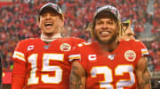 Patrick Mahomes and Tyrann Mathieu after the Kansas City Chiefs' Super Bowl win.