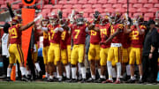 USC football players at the Coliseum.