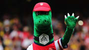 Arsenal's mascot the Gunnersaurus
