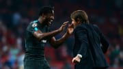 Michy Batshuayi and Antonio Conte celebrate the striker's remarkable late goal