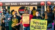 Black Lives Matter Demonstrators Protest Outside University Of Louisville Football Game In Louisville, Kentucky