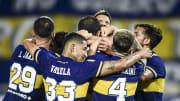 Boca Juniors v Atletico Tucuman - Copa de la Liga Profesional 2021 - Todo Boca festeja el gol de Soldano.
