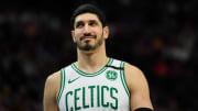 Enes Kanter plays for the Boston Celtics against the Utah Jazz