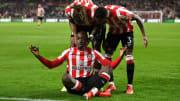 Yoane Wissa celebrates his late equaliser for Brentford
