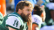 EAST RUTHERFORD, NJ - JANUARY 01:  Ryan Fitzpatrick #14 of the New York Jets sits on the bench during the second quarter of their game against the Buffalo Bills at MetLife Stadium on January 1, 2017 in East Rutherford, New Jersey. (Photo by Ed Mulholland/Getty Images)