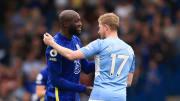 Romelu Lukaku, Kevin De Bruyne lors du match entre Chelsea et Manchester City en Premier League