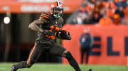 DENVER, CO - NOVEMBER 3:  Odell Beckham #13 of the Cleveland Browns runs for a first down after a catch in the fourth quarter of a game against the Denver Broncos at Empower Field at Mile High on November 3, 2019 in Denver, Colorado.  (Photo by Dustin Bradford/Getty Images)