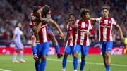 Luis Suarez quietly celebrates scoring Atletico Madrid's second of the night