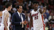 Miami Heat coach Erik Spoelstra and players Goran Dragic and Jimmy Butler