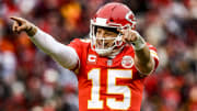 Patrick Mahomes pointing to the haters.