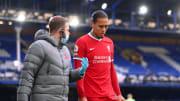 Liverpool's Virgil van Dijk sustained a serious knee injury in the Merseyside derby