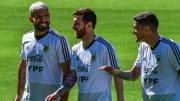 Messi, Agüero y de Paul entrenando con la selección Argentina