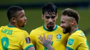 L'esultanza dei giocatori del Brasile