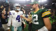 Dak Prescott and Aaron Rodgers, Green Bay Packers vDallas Cowboys