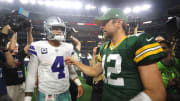 Dak Prescott meeting with Aaron Rodgers following their Cowboys-Packers matchup