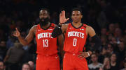 James Harden and Russell Westbrook, Houston Rockets v New York Knicks
