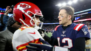 Patrick Mahomes and Tom Brady after the AFC Championship Game just a couple years ago.