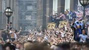 Leeds United Fans Celebrate Winning The Championship Title