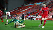 Robertson puts in one of many crosses against Sheffield United