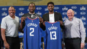Doc Rivers, Kawhi Leonard, Paul George and Steve Ballmer, Los Angeles Clippers Introduce Kawhi Leonard & Paul George