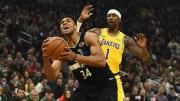 Giannis Antetokounmpo buscará aprovecharse de la ausencia de LeBron y Davis contra los Lakers