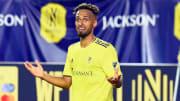 Jul 17, 2021; Nashville, TN, USA; Nashville SC midfielder Hany Mukhtar (10) reacts after being