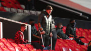 Maguire has been seen using crutches at Old Trafford