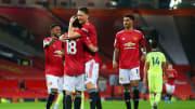 United celebrate Fernandes' penalty