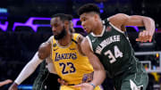 LeBron James of the Los Angles Lakers and Giannis Antetokounmpo of the Milwaukee Bucks